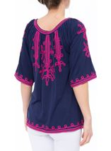 Wide Sleeve Tapework Top Blue/Hot Pink - Gallery Image 3
