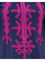 Wide Sleeve Tapework Top Blue/Hot Pink - Gallery Image 4
