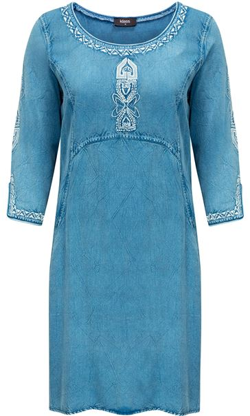 Embroidered Washed Denim Look Tunic