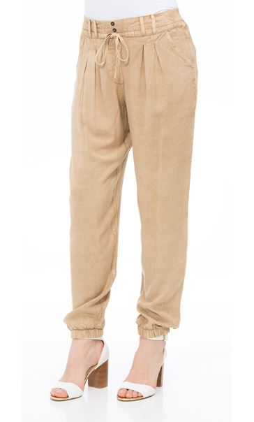 Elasticated Cuff Loose Fitting Embroidered Trousers Beige