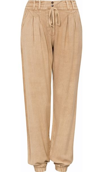 Elasticated Cuff Loose Fitting Embroidered Trousers Beige - Gallery Image 3