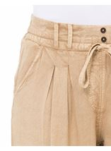 Elasticated Cuff Loose Fitting Embroidered Trousers Beige - Gallery Image 4