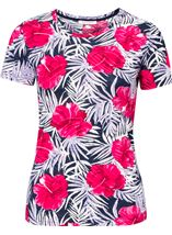 Anna Rose Printed Round Neck Top Pink/Navy - Gallery Image 1