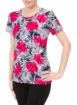 Anna Rose Printed Round Neck Top Pink/Navy - Gallery Image 2