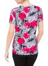 Anna Rose Printed Round Neck Top Pink/Navy - Gallery Image 3