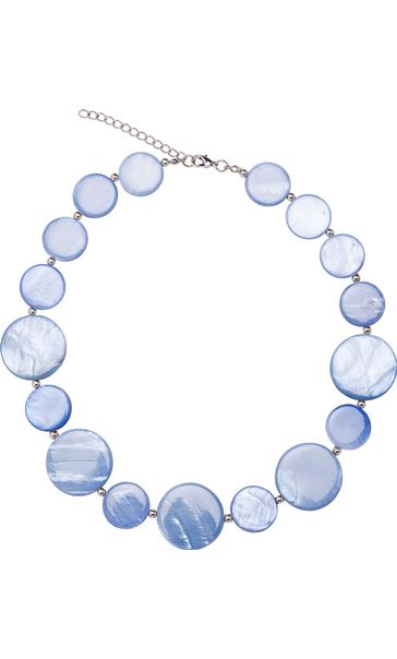 Pearlized Disc Necklace Silver/Blue