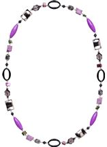 Mixed Bead Longline Necklace Silver/Multi - Gallery Image 1