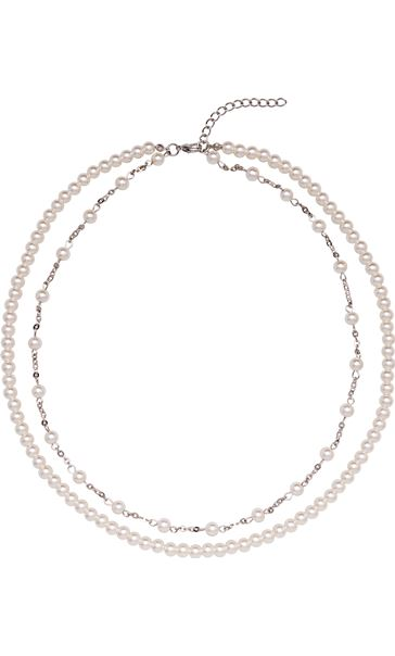 Double Chain Faux Pearl Necklace Silver/Pearl