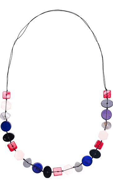 Button Beaded Longline Necklace Red