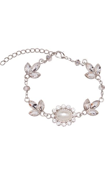 Faux Pearl And Sparkle Bracelet Silver/Pearl