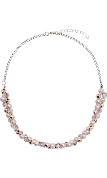 Double layer Sparkle Ball Necklace R.Gold/Silver/Crystal