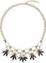 Statement Floral Necklace Gold/Black - Gallery Image 1