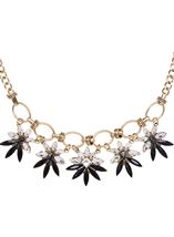 Statement Floral Necklace Gold/Black - Gallery Image 2