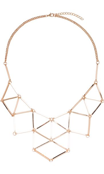 Bar Linked Necklace Gold
