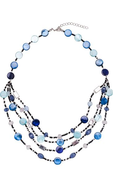 Multi Layer Beaded Necklace Silver/Blue