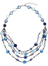 Multi Layer Beaded Necklace Silver/Blue - Gallery Image 1