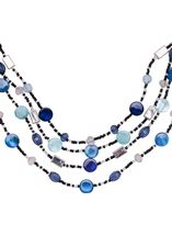 Multi Layer Beaded Necklace Silver/Blue - Gallery Image 2