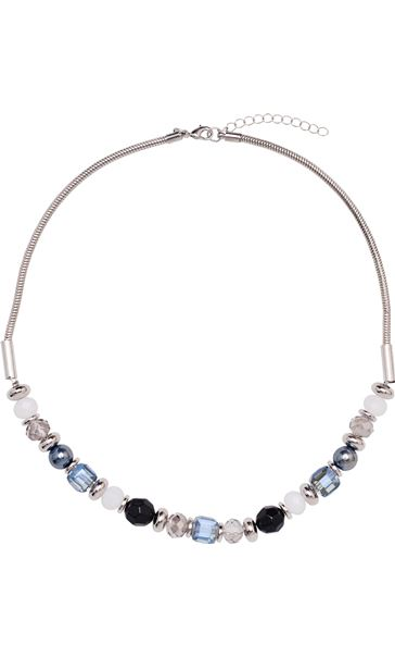 Faceted Bead Necklace Silver/Blue