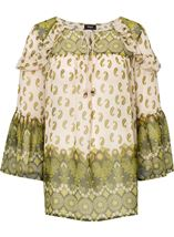 Paisley Printed Bell Sleeve Top Khaki/Lime - Gallery Image 1
