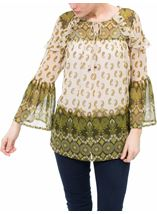 Paisley Printed Bell Sleeve Top Khaki/Lime - Gallery Image 2