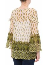 Paisley Printed Bell Sleeve Top Khaki/Lime - Gallery Image 3