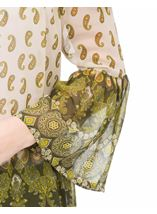 Paisley Printed Bell Sleeve Top Khaki/Lime - Gallery Image 4