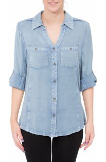 Fitted Washed Turn Sleeve Shirt - Blue