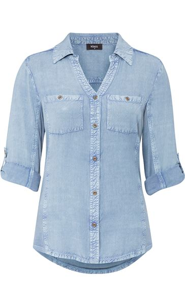Fitted Washed Turn Sleeve Shirt
