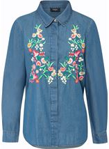 Floral Embroidered Long Sleeve Shirt Denim Blue - Gallery Image 1