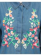 Floral Embroidered Long Sleeve Shirt Denim Blue - Gallery Image 4