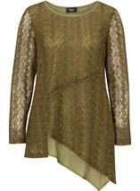 Layered Sequin Knit Long Sleeve Top Khaki - Gallery Image 1