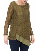 Layered Sequin Knit Long Sleeve Top Khaki - Gallery Image 2