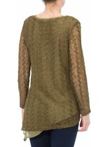 Layered Sequin Knit Long Sleeve Top Khaki - Gallery Image 3