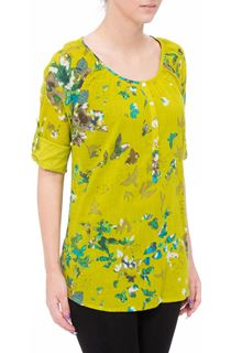 Floral And Bird Printed Cotton Top