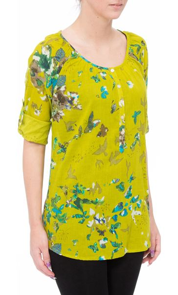 Floral Turn Sleeve Cotton Top Lime - Gallery Image 2