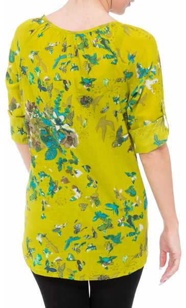 Floral Turn Sleeve Cotton Top Lime - Gallery Image 3