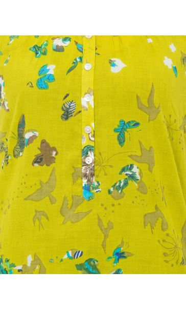 Floral Turn Sleeve Cotton Top Lime - Gallery Image 4
