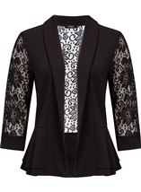Three Quarter Sleeve Lace Trim Cover Up Black - Gallery Image 1