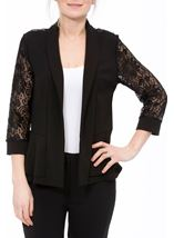Three Quarter Sleeve Lace Trim Cover Up Black - Gallery Image 2