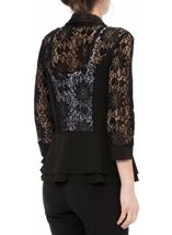 Three Quarter Sleeve Lace Trim Cover Up Black - Gallery Image 3