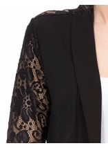 Three Quarter Sleeve Lace Trim Cover Up Black - Gallery Image 4