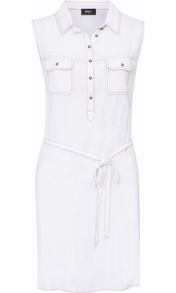 Washed Denim Look Tunic White/Tan