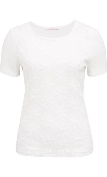 Anna Rose Embroidered Mesh Layered Top Ivory