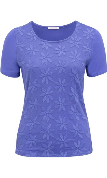 Anna Rose Embroidered Mesh Layered Top Iris