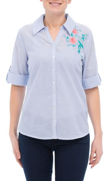 Anna Rose Embroidered Cotton Blouse Blue/White