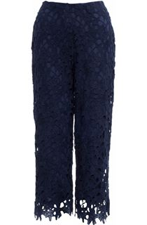 Crochet Lace Pull On Wide Leg Cropped Trousers - Blue