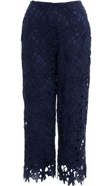 Crochet Lace Pull On Wide Leg Cropped Trousers Blue