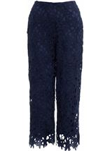 Crochet Lace Pull On Wide Leg Cropped Trousers Blue - Gallery Image 1