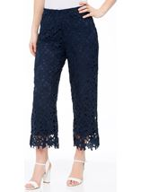 Crochet Lace Pull On Wide Leg Cropped Trousers Blue - Gallery Image 2