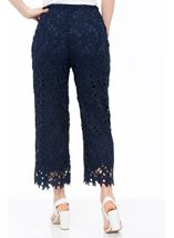 Crochet Lace Pull On Wide Leg Cropped Trousers Blue - Gallery Image 3